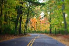 有曲线的路通过秋天森林在威斯康辛 库存图片