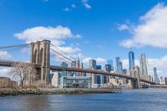 有曼哈顿街市的布鲁克林大桥和都市风景在与清楚的天空蔚蓝纽约美国的好日子 免版税库存照片