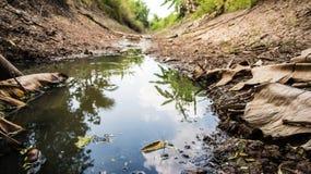 有最低水位水平的运河由于天旱 图库摄影
