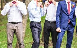 有最佳的人和男傧相的新郎婚礼的 库存图片
