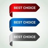 有最佳的选择的箭头按钮 银,蓝色和红色弯的丝带,在您的产品的简单的贴纸 库存图片
