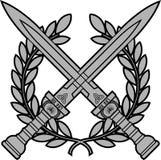有月桂树花圈的罗马剑 免版税库存照片
