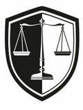 有月桂树黑白花圈的盾的象天秤座 正义 图库摄影