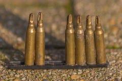 有有些子弹丢失的子弹夹子 图库摄影
