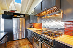 有有圆顶木天花板的豪华美丽的黑暗的现代厨房 免版税库存照片