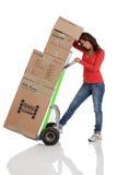 有有手推车的或移动式摄影车的少妇移动的箱子 免版税库存照片