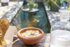 有有气味的羽毛花的黏土背景的碗和游泳场 库存图片