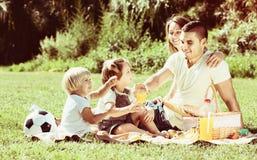 有有的小女孩的愉快的父母野餐 免版税库存图片