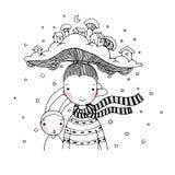 有有趣的帽子和她的朋友野兔的一个年轻美丽的女孩 kozlovo区域俄国村庄vladimir冬天 库存照片