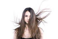 有有风头发的美丽的深色的女孩 免版税库存照片