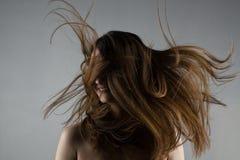 有有风头发的美丽的深色的女孩 库存照片