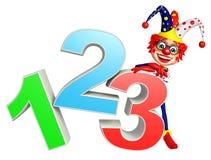 有有123标志的小丑 免版税库存照片