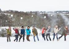 有朋友的乐趣横向多雪少年 免版税库存照片