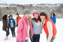 有朋友的乐趣横向多雪的年轻人 图库摄影