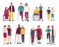 有朋友的愉快的残疾人 被设置的动画片平的例证 皇族释放例证