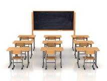 有木书桌的空的教室 免版税库存图片