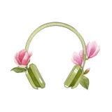 有木兰花的水彩绿色耳机 在白色背景隔绝的春天明亮的例证 音乐手拉的商标 库存照片