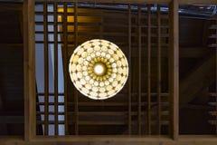 有木制框架的装饰现代天花板japanise灯 库存图片