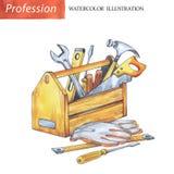 有木匠工具的手画木箱 库存图片