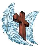 有木十字架的天使翼 免版税库存照片