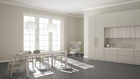 有木和灰色细节的斯堪的纳维亚经典白色厨房, 向量例证