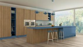 有木和蓝色细节的Minimalistic厨房,斯堪的纳维亚语 向量例证