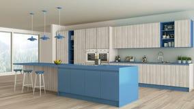 有木和蓝色细节的Minimalistic厨房,斯堪的纳维亚语 库存例证
