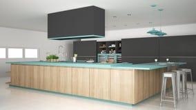 有木和绿松石细节的,分钟Minimalistic灰色厨房 免版税库存照片