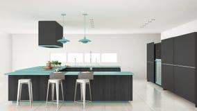 有木和绿松石细节的,分钟Minimalistic灰色厨房 库存照片