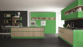 有木和绿色细节的现代白色厨房, minimalistic 皇族释放例证
