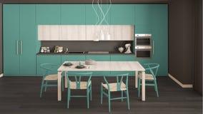 有木地板的,经典inte现代最小的绿松石厨房 图库摄影