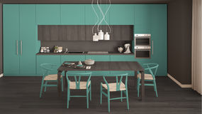 有木地板的,经典inte现代最小的绿松石厨房 免版税库存照片