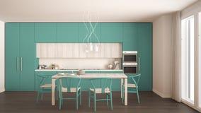 有木地板的,经典inte现代最小的绿松石厨房 免版税图库摄影