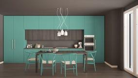 有木地板的,经典inte现代最小的绿松石厨房 库存图片