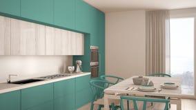 有木地板的,经典inte现代最小的绿松石厨房 库存照片