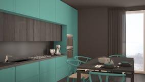有木地板的,经典inte现代最小的绿松石厨房 免版税库存图片