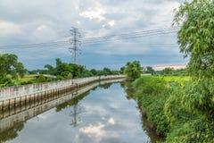 有木小船反射的防洪墙壁风景  免版税库存图片