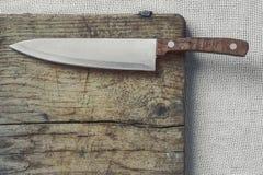 有木把柄的厨刀 库存图片