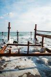 有木杆的冻冬天海 垂直 免版税库存照片