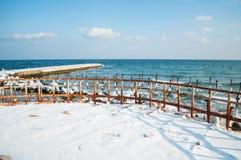 有木杆的冻冬天海 水平 库存照片