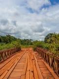 有木材板条和老铁的躲躲闪闪的木桥在加蓬,中非用栏杆围横穿河 库存图片