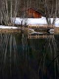 有木桥和秃头桦树天鹅绒反映的镇静湖 库存照片