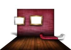 有木楼层的现代客厅 免版税库存照片