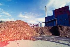 有木燃料生物量存贮的生物能源厂  免版税库存照片