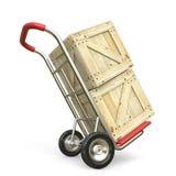 有木箱的手推车 概念发运查出的白色 3d回报 库存图片