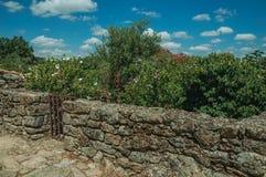 有木篱芭的石墙在开花的灌木前面 免版税库存照片