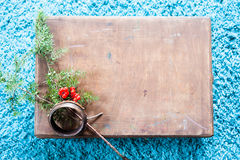 有木纹理的箱子和在蓬松蓝色地毯背景的杉树 顶视图拷贝空间 库存图片