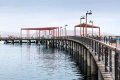 有木装饰的码头 库存照片