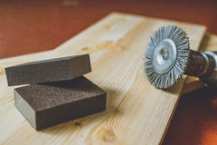 有木头的钻床 免版税图库摄影