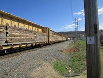 有木头装载的汽车在西部Haverstraw, NY的 免版税库存照片